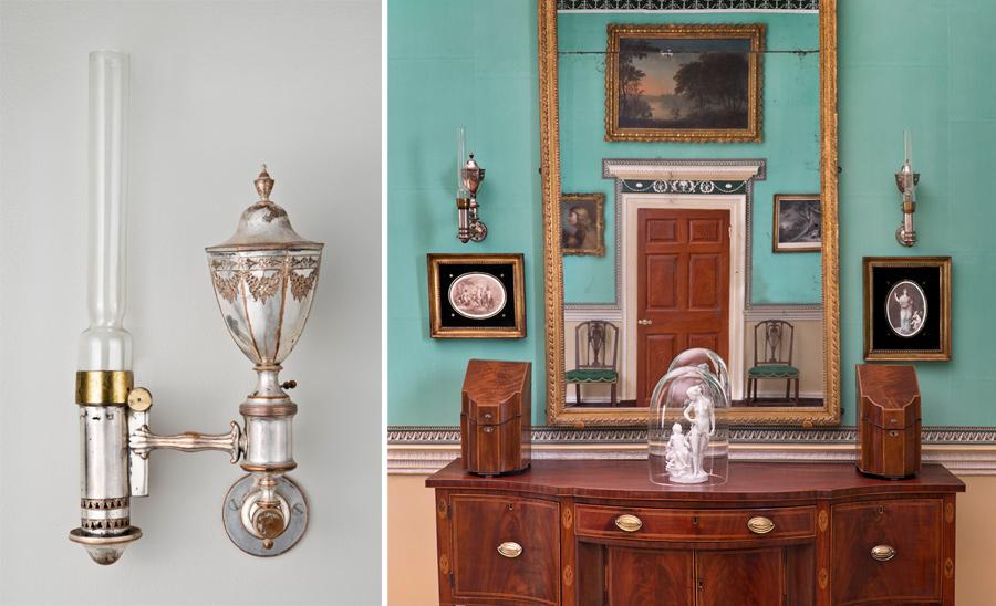 Настенные Аргандовы лампы в доме-музее Джорджа Вашингтона в Маунт-Вернон.