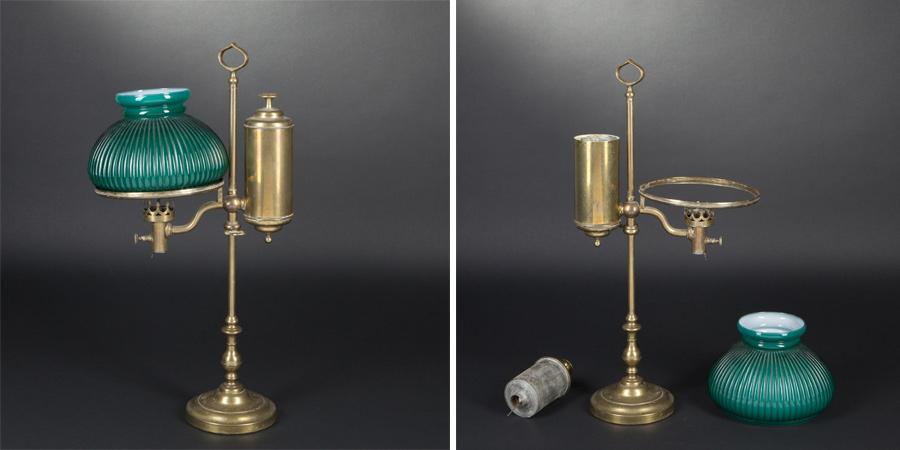 Это как раз одна из весрий Квинке-лампы середины 19 века. Резервуар у неё находится на одном уровне с горелкой.