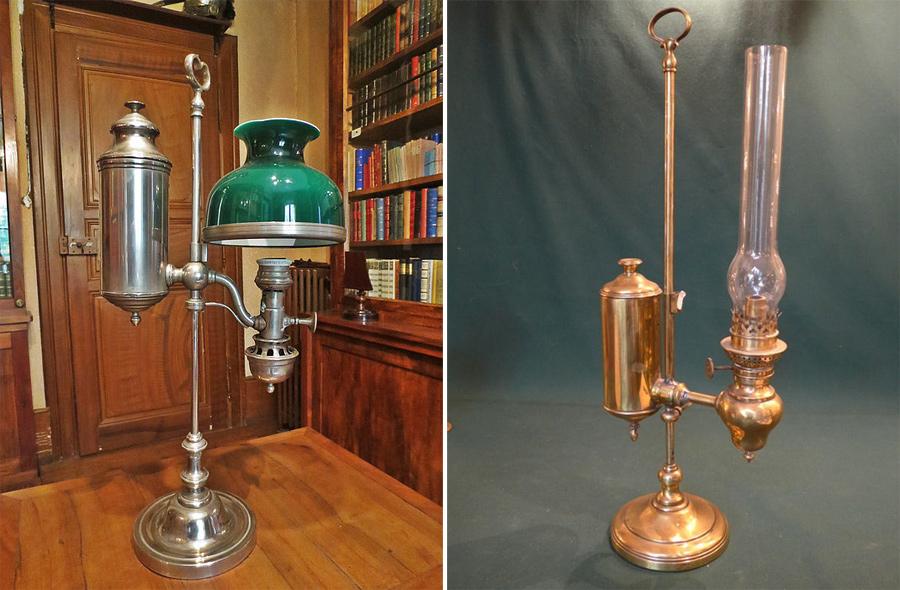 Ещё примеры квинке-ламп, они же лампы Арганда. Фото слева www.musee-foliemarco.com, справа goo.gl