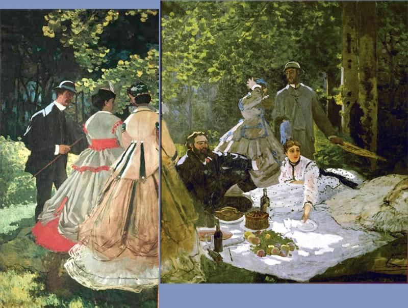 """Сохранившиеся левый и средний фрагмент работы """"Завтрак на траве"""" Клода Моне 1865-1866г., для которой позировала Камилла - женские фигуры на полотне - и Фредерик Базиль - мужские фигуры в котелке."""