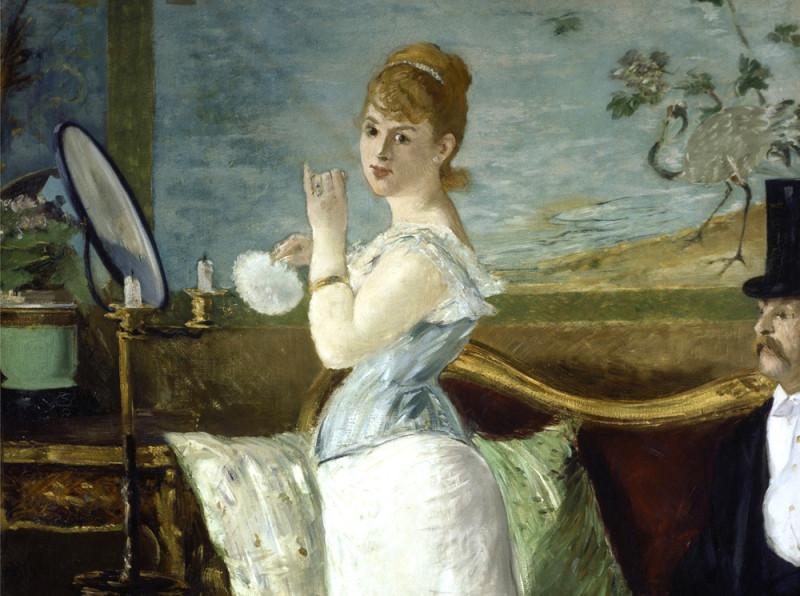 """Фрагмент работы Эдуарда Мане """"Нана"""", 1877г. Два года спустя после создания этой работы выходит одноимённый роман Эмиля Золя """"Нана"""" о саморазрушительной куртизанке."""