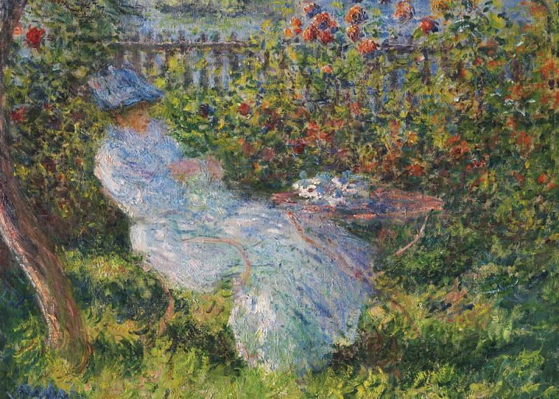 """Фрагмент работы Клода Моне """"Алиса Ошеде в саду"""", 1881 Картина написана в Ветёй с видом из сада на реку."""