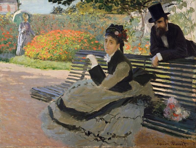 """Клод Моне """"Камилла Моне на садовой скамейке"""", 1873г. В руках Камилла держит весть о смерти отца."""
