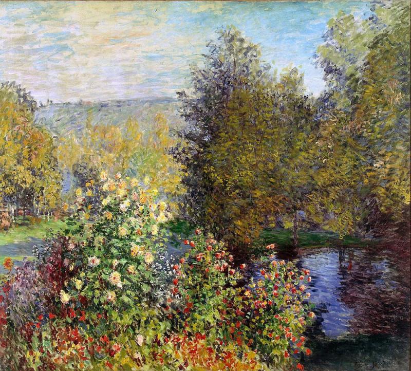 """Claude Monet, """"Corner of the Garden at Montgeron"""", 1876 Одно из четырех декоративных панно, предназначенных для украшения большой гостиной замка Роттембург в Монтжероне, которые были заказаны художнику Эрнестом Хошеде."""