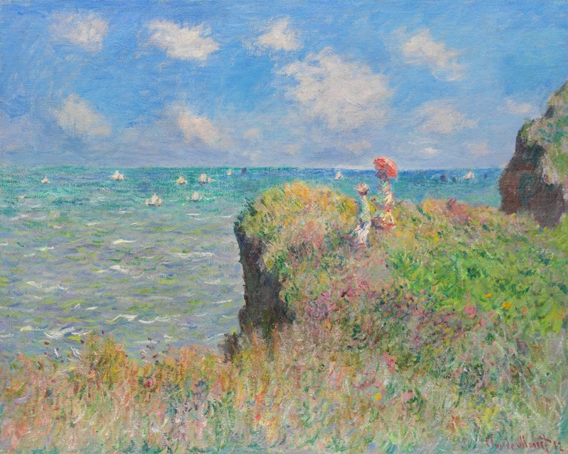 """Claude Monet, """"Cliff Walk at Pourville"""", 1882 Две молодые женщины на скале - это, вероятно, Марта и Бланш, старшие дочери Алисы Хошеде."""