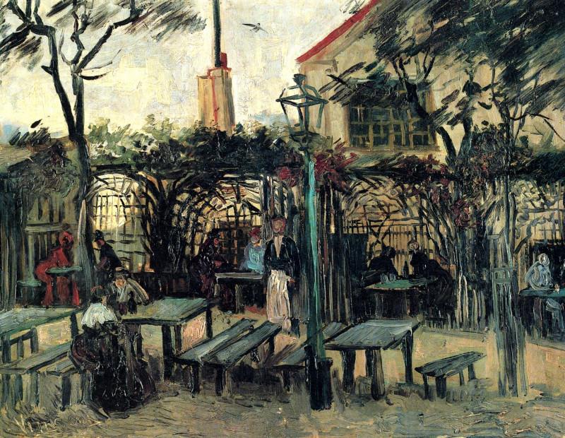 """Винсенг Ван Гог, """"Терраса кафе на Монмартре La Guinguette"""", Париж осень 1886"""