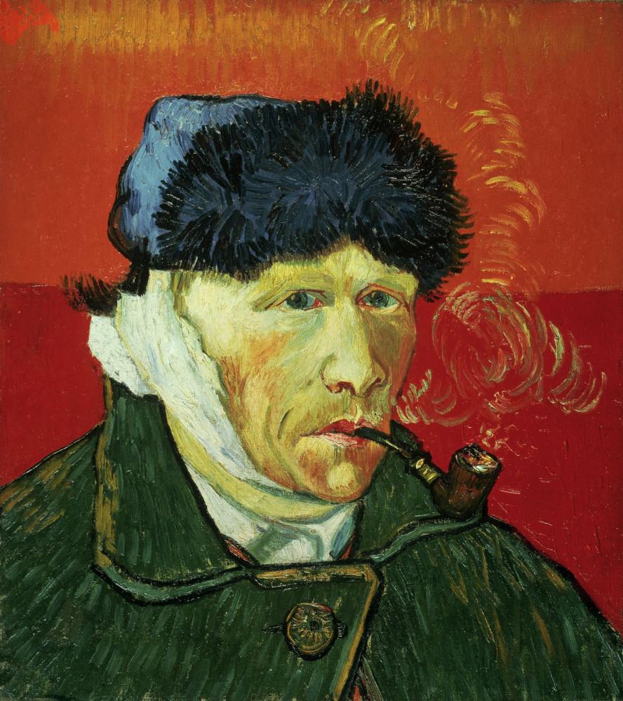 Этот автопортрет появился на свет во французском Арле после всем якобы известного события с отрешением уха в 1888 году. Кстати, художник рисовал себя, глядя в зеркало, то есть на самом деле у него пострадало левое ухо, а не правое, как можно подумать.