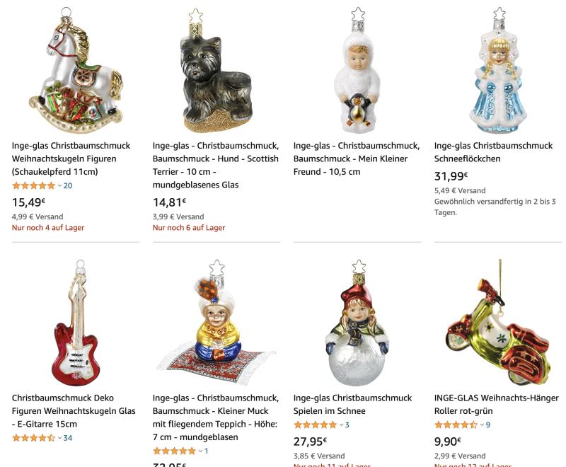 Ёлочные украшения Inge-Glas на немецком Amazon.de. Можно найти по запросу на Inge Glas Christbaumschmuck.