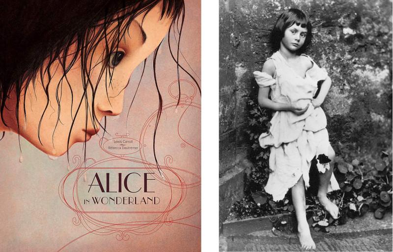 """Слева: Обложка книги """"Алиса в Стране чудес"""", проиллюстрированная Ребеккой Даутремер. Справа: Льюис Кэрролл. Алиса Лидделл в образе нищенки, 1858."""