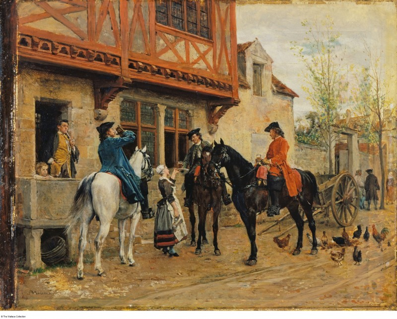 """(Jean-Louis-) Ernest Meissonier (1815 - 1891), """"Halt at an Inn"""", France. Date:probably 1862 - 1863, oil on sycamore panel with additions of oak, 19.5 x 24.9"""