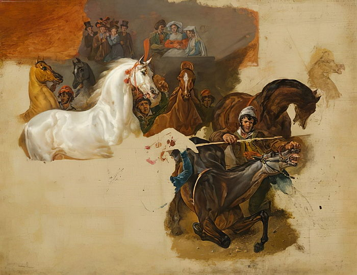 """Emile Jean Horace Vernet, """"Race of the Riderless Horses"""", c.1820, oil on canvas."""