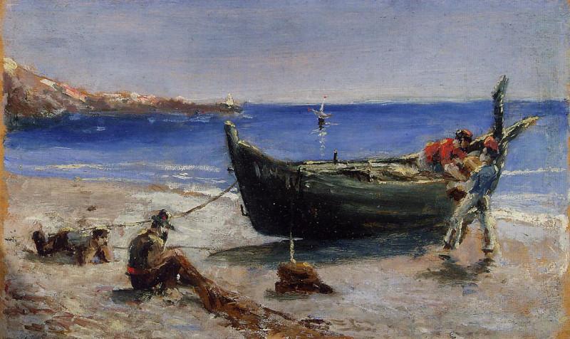 "Анри Тулуз-Лотрек, ""Рыбацкая лодка"", 1880, масло на древесине тополя, 14,0 x 23,3 см."