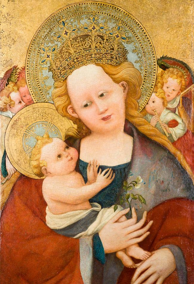 Мадонна с цветком гороха, поздний 14 век.