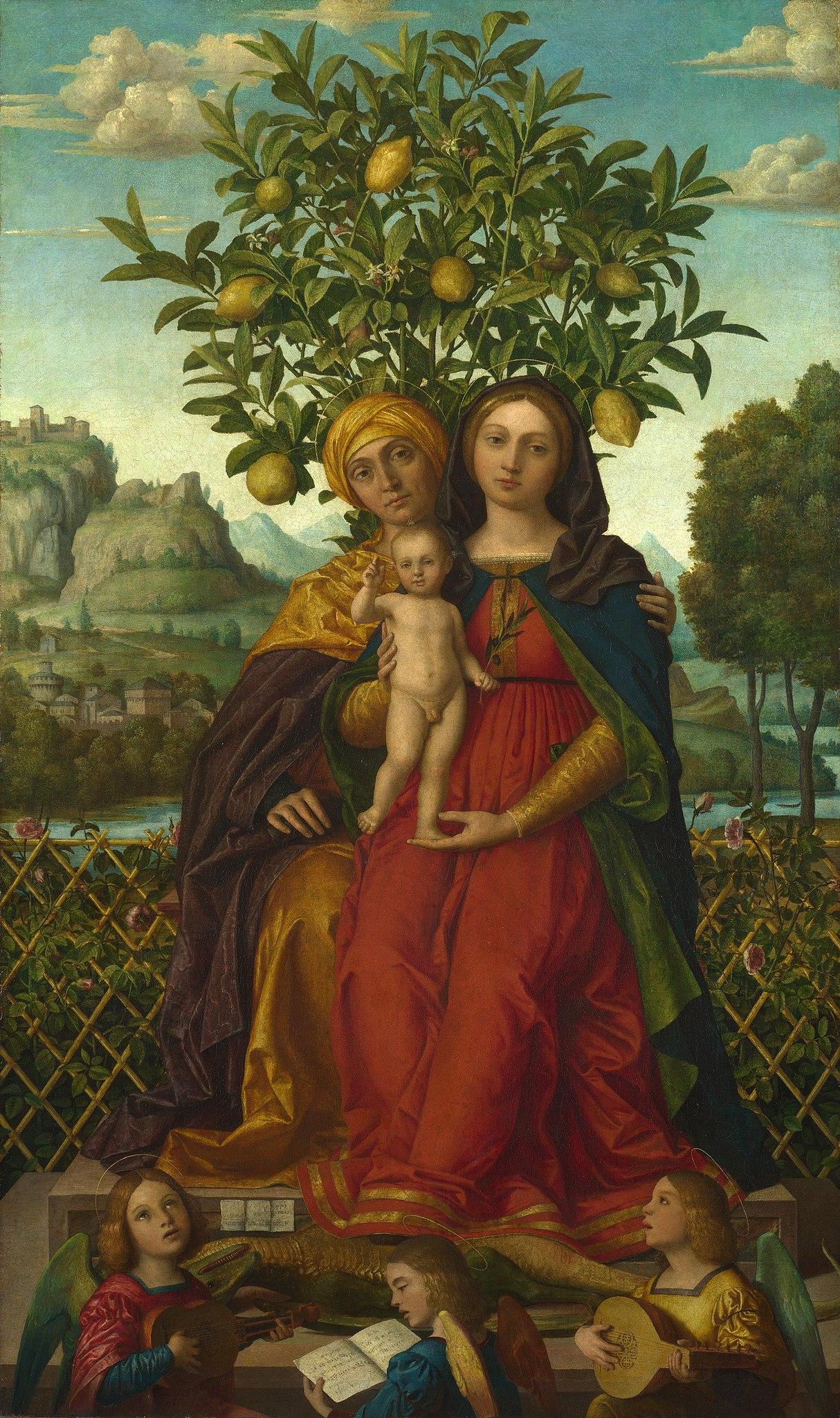 """Girolamo dai Libri, """"Virgin and Child with St Anne"""", between 1510 and 1518, National Gallery, London. Особенно часто Мадонну можно увидеть в окружении цитрусовых, а именно лимонов. Цитрусовые являлись символом вечной жизни, но также принесли человечеству грех и смерть, символизируют добродетель и чистоту, плодородие и любовь. В Библии запретный плод дерева познания остаётся безымянным. Христианство склонно отождествлять его с яблоком. Но есть и знаменитые исключения. В христианском искусстве Ян ван Эйк считается первым художником, который отнес цитрусовые к Древу познания и изобразил это для Гентского алтаря (1432). {4}"""