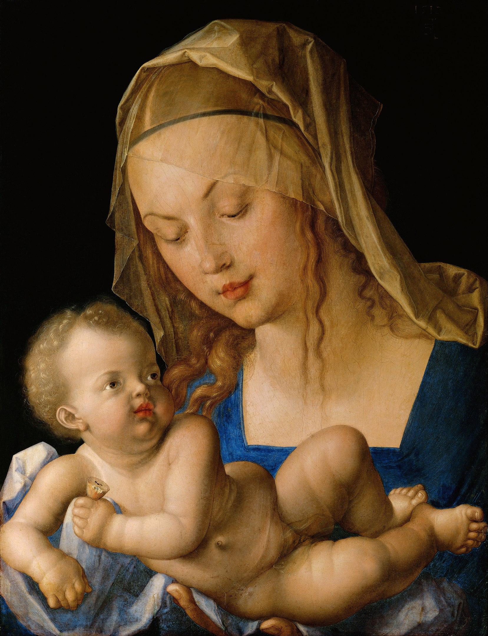 """Альбрехт Дюрер, """"Мадонна с кусочками груши"""". В средние века грушевое дерево считалось символом Божьей Матери, непорочной роженицы, забеременевшей без первородного греха. Предполагается, что груша была символом Марии благодаря своим безупречно белым цветам по весне. .Но Дюрер был тот ещё шутник. Одно то, что младенец держит уже надрезанную грушу «невинности» должно было заставить зрителя задуматься над провозглашаемыми ценностями."""