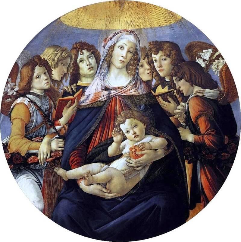 В данной работе Боттичелли присутствует сразу 2 символа — белая лилия, как символ непорочного зачатия и гранат — символ христианской любви, жизни, жертвоприношения. Madonna of the Pomegranate, 1487 by Sandro Botticelli