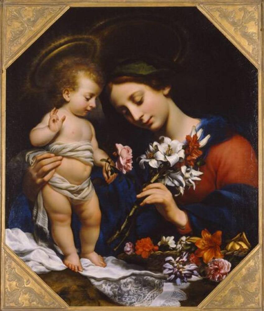 Здесь Мария держит в руке белые лилии — символ девственности и непорочности — и красные гвоздики. В прежние времена гвоздика считалась символом страданий Господних. Ее цветок с пятью расходящимися кончиками лепестков напоминала гвозди, которыми был распят Христос. Carlo Dolci, Madonna mit der Lilie, 1649, Bayerische Staatsgemäldesammlungen - Staatsgalerie im Neuen Schloss Schleißheim.