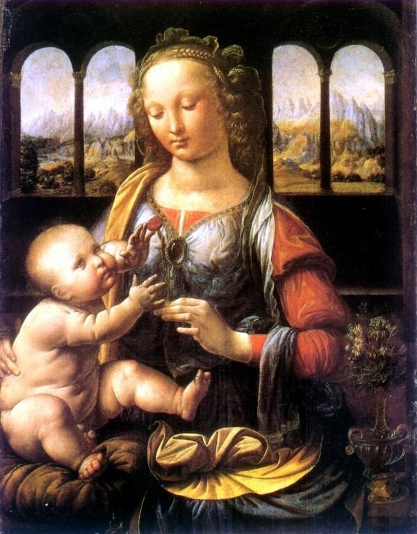 Леонардо да Винчи уже совсем отбросил лилии, имея точное представление о женской анатомии, и сразу изобразил Мадонну с гвоздикой, которую она дарит сыну. Madonna mit der Nelke, um 1478 bis 1480; 62 x 48 cm; München (Alte Pinakothek)