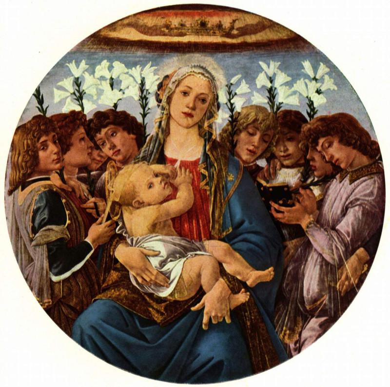 Sandro Botticelli: Madonna mit acht singenden Engeln (Berliner Madonna), Tondo, 1477