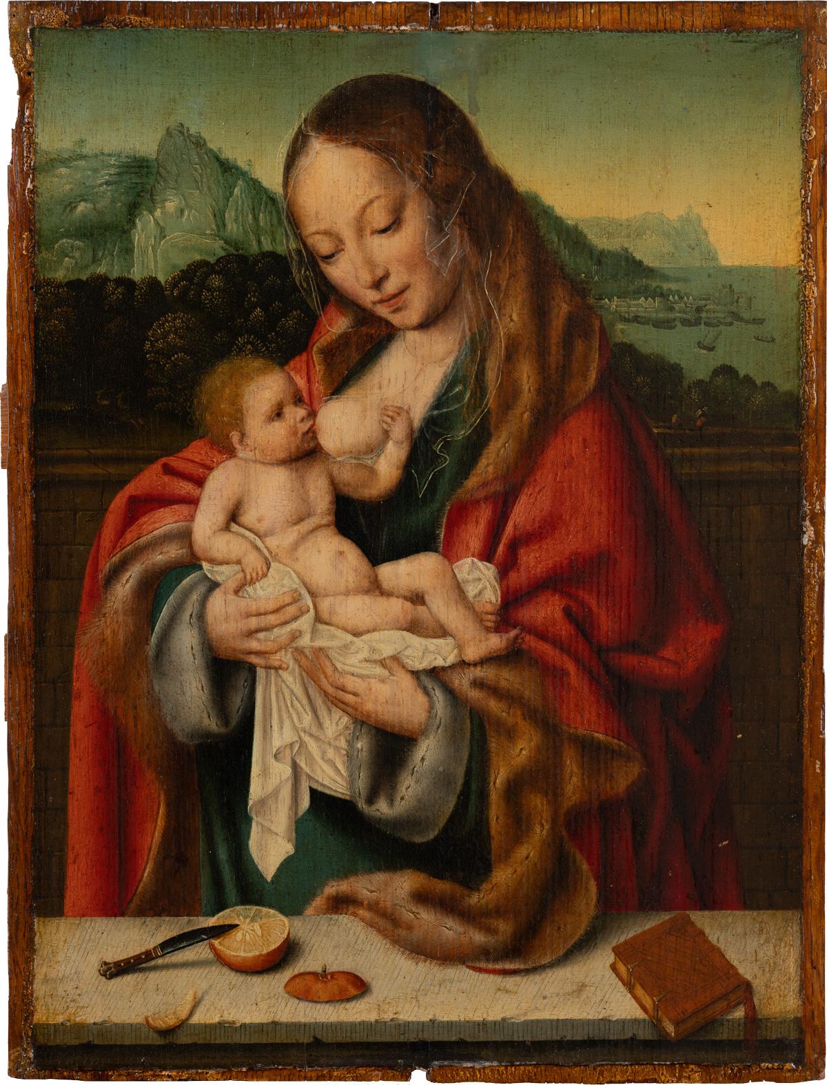 В работе неизвестного антверпенского мастера Мадонна изображена с апельсином. Чем вам не лимон? ANTWERPENER (?) MEISTER UM 1525 Madonna mit Kind vor einer Landschaft, ca. 1520 – 1530