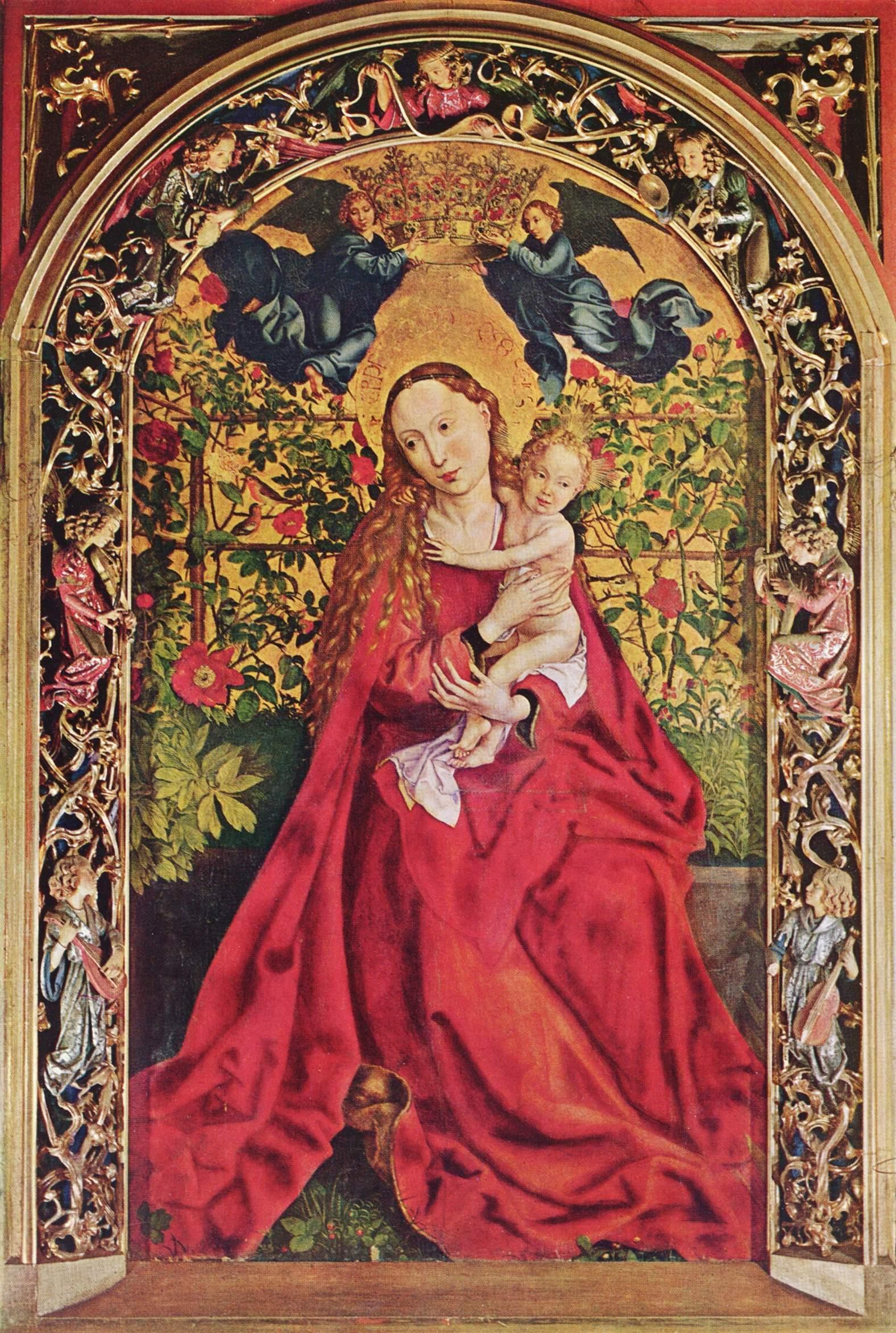 И куда же Мария без роз — символа любви и страданий? Martin Schongauer, Maria im Rosenhag, 1473, Tempera auf Holz, Colmar, Dominikanerkirche