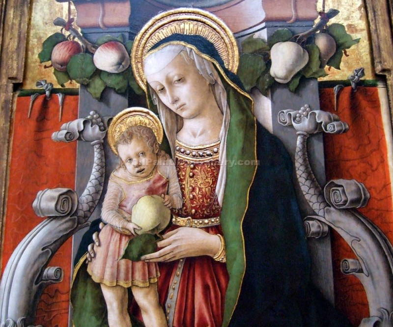 Мадонна с мледенцем в яблоках и грушах. Мол, сами решите, какой фрукт подходит больше по ситуации. Сarlo Crivelli, Madonna and Child with Fruit.