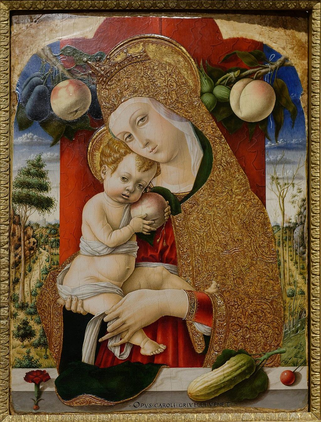 Carlo Crivelli, Madonna and Child, between circa 1480 and circa 1483. Мадонна с младенцем держит то ли яблоко, то ли персик; на подоконнике лежит огурец — символ Воскресения (лучше не спрашивать, почему), гвоздика и вишня — символы страданий Христовых.