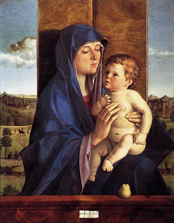 Giovanni Bellini (1430-1516). Madonna con Bambino, 1480-90. Accademia Carrara. Груша — символ женсвенности и, благодаря идеально белым цветам дерева, символ невинности и непорочного зачатия в Средневековье.