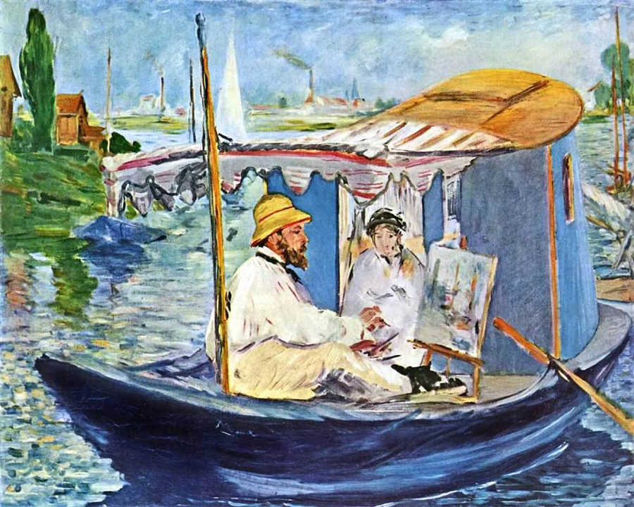 Monet Painting in his Studio Boat, 1874 by Edouard Manet