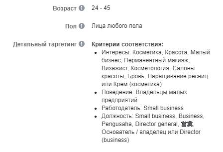 Скрин 1. Базовые интересы целевой аудитории