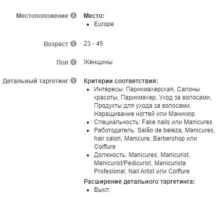 Скрин 9. Пример интересов на русскоязычную аудиторию Европы;