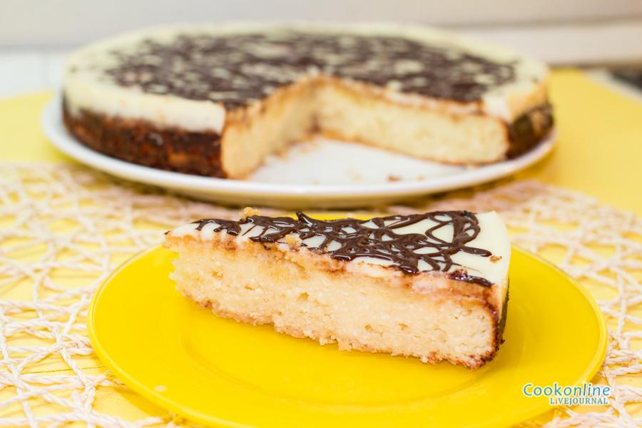 творожный пирог с шоколадной заливкой