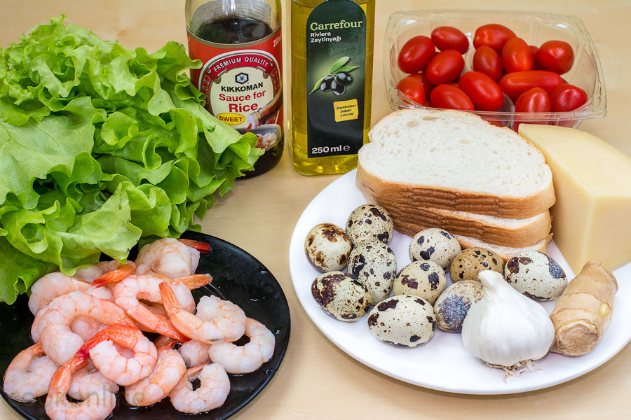 креветки салат яйца помидоры чеснок имбирь