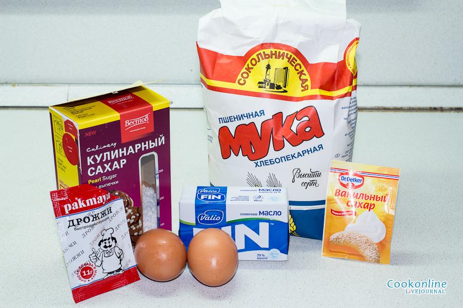 яйца, мука, масло, жемчужный сахар, дрожжи