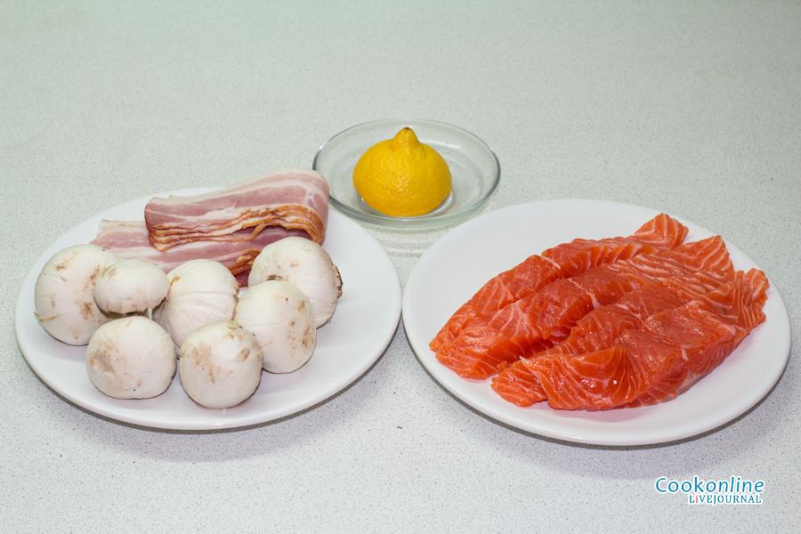 грибы, бекон, лимон, форель