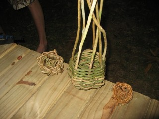 We learned how to make baskets out of local vines