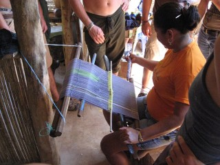 A Baruca woman showing us how they weave