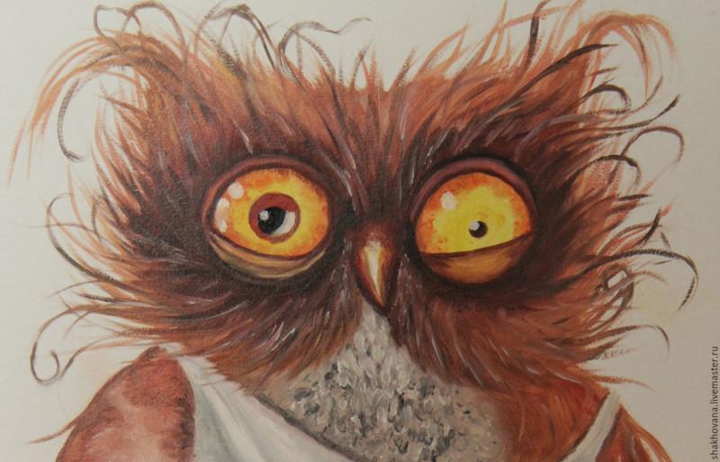 смартфон взъерошенная сова рисунок годами приходит