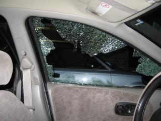 Inside view of broken window