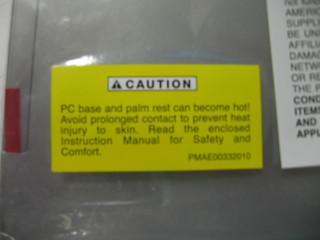 Toshiba Laptop Warning