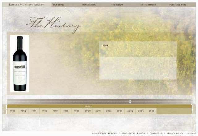 History as seen at mondavi.com - blank for 2004, but event-filled for other years...
