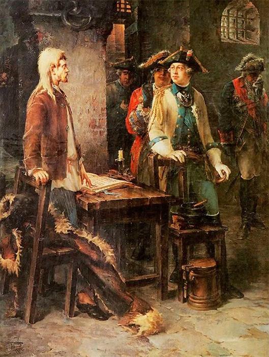 Фёдор Буров. Встреча Петра III и Ивана VI. Шлиссельбургская крепость