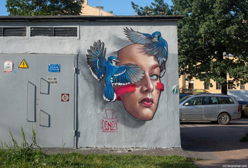Работа художника Дениса Dendy в Греческом сквере. Санкт-Петербург