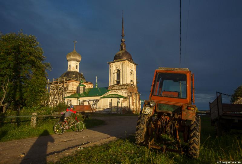Вечер в деревне Морщихинская. Архангельская область