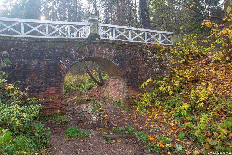 Парк усадьбы Середниково, мостик над ручьём. Московская область