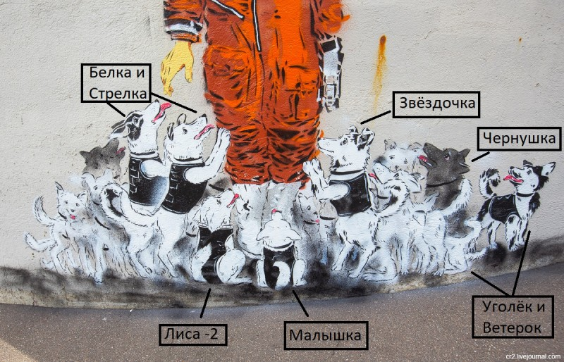 Юрий Гагарин от художника Артёма Аrtokhot, фрагмент работы. Москва, Куркино