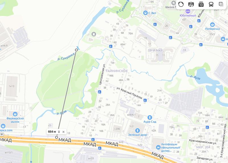 Село Тайнинское (Мытищи, Московская область), речки Сукромка и Яуза. Фрагмент Яндекс-карт