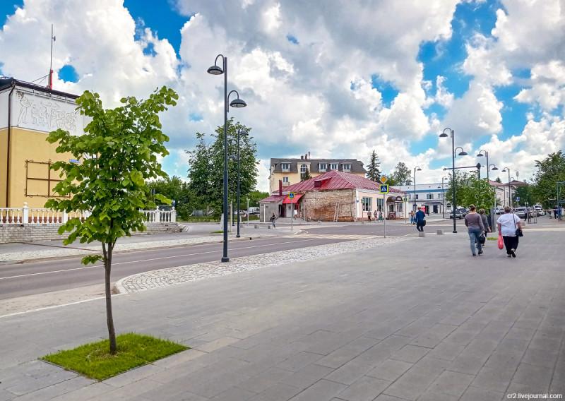 Отреставрированная и благоустроенная Советская улица в Кашире. Московская область
