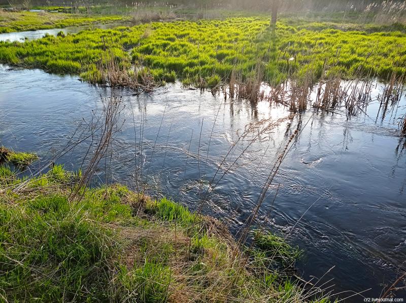 Река Яуза в Тайнинском (бывшее село, ныне часть города Мытищи). Московская область