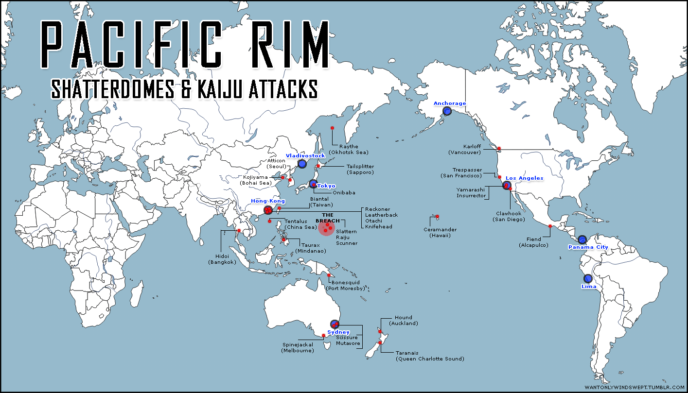 Pacific Rim Map: Shatterdomes & Kaiju Attacks - Sonatina Pacific Rim